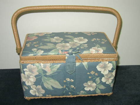 Sewing Basket with Assorted Sewing Items