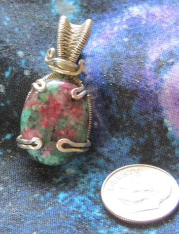 Sterling Silver with Ruby Fuschite Pendant