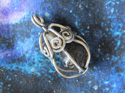 Caged Heart pendant Sterling and Apache Tears