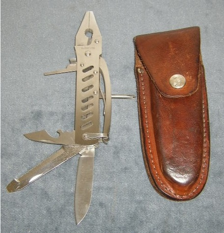 Stainless Steel Knife-Pliers with Leather Sheathe