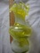 Estate Vintage Retro Rare Lime Green & Orange Pair Pulled Glass