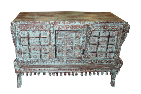 Vintage Distressed Buffet Chest Console Old Damchiya Reclaimed Furniture
