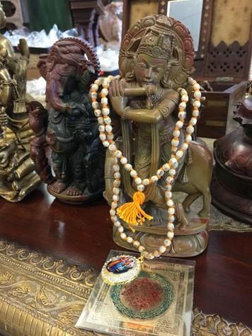 Krishna Stone Statue Playing Flute Radha Krishna Mala
