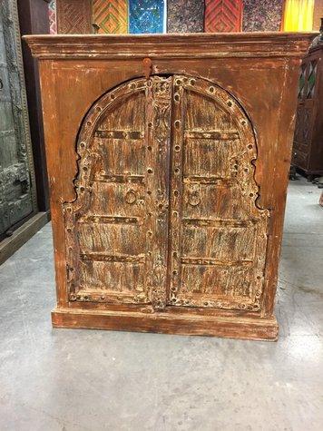 Antique Wooden Arched Double Door Chest