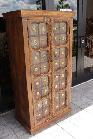 Rustic Cabinet Mid Century Castle Door Iron Straps Brown Armoire