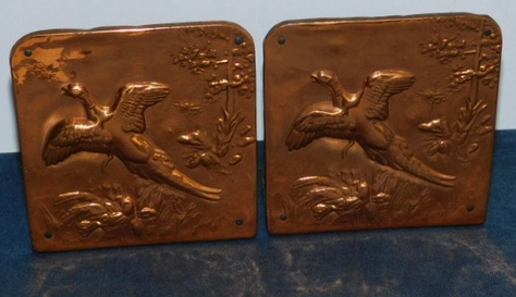 Hammered, Embossed Copper Bookends