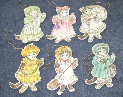 Set of Six (6) Old Fashioned Kitten Ornaments