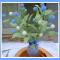 Custom Artificial Pom-Pom Floral Decor w/Ombre Lilac-Blue Vase