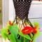 Hanging Macrame Black Plant Holder w/Silk Red Anthurium Flowers